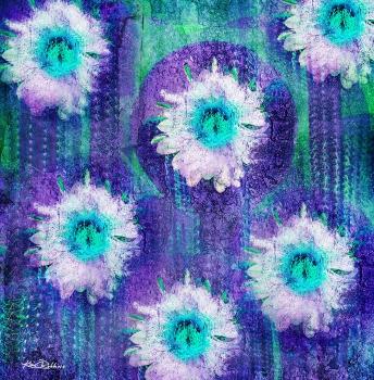 Cactus Blooms in Turquoise & Purple
