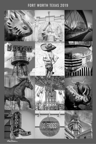 Fort Worth Collage in Black and White 2019