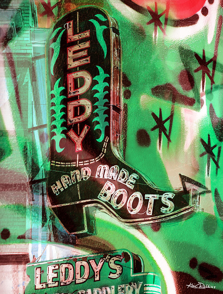 Leddys Boot Abstract Green