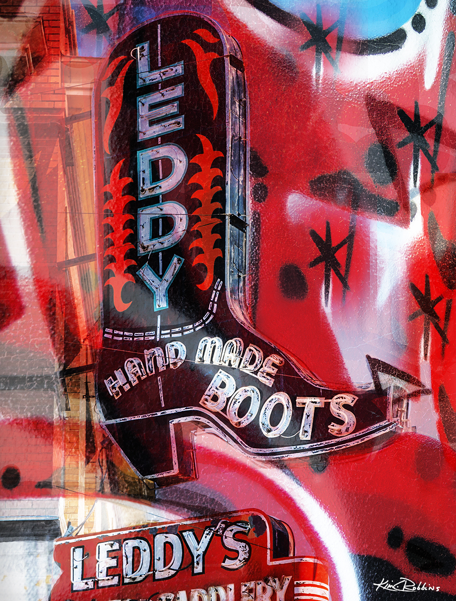 Leddys Boot Abstract Red